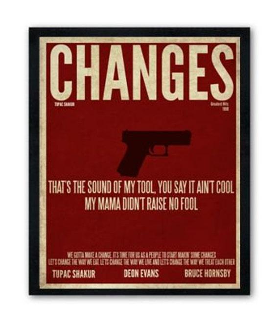 Changes / Tupac Shakur / Lyric / DIGITAL Minimalist Typography Poster / Printable