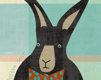 black rabbit fine art pigment print