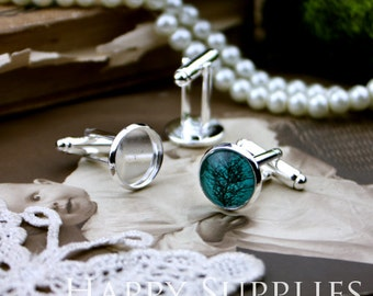 4Pcs 12mm Silver Brass Cuff Links with 12mm Cameo Setting (XJ161)