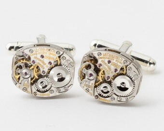 Vintage Rare Genuine LeCoultre Watch Cufflinks Ideal Wedding or Anniversary Gift Grooms Formal Wear Silver Mens Cuff Links Steampunk Jewelry