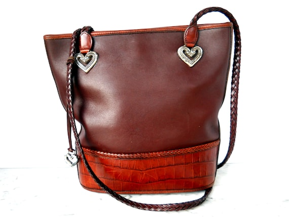 Brighton Heart Adorned Bucket Cross Body Bag // Large Chocolate Leather