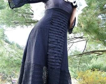 Dress - Steampunk - Burning Man - Black Dress - Victorian Goth - Patchwork - Victorian Goth - Dark Lolita - Designer Fashion - Size X- Small