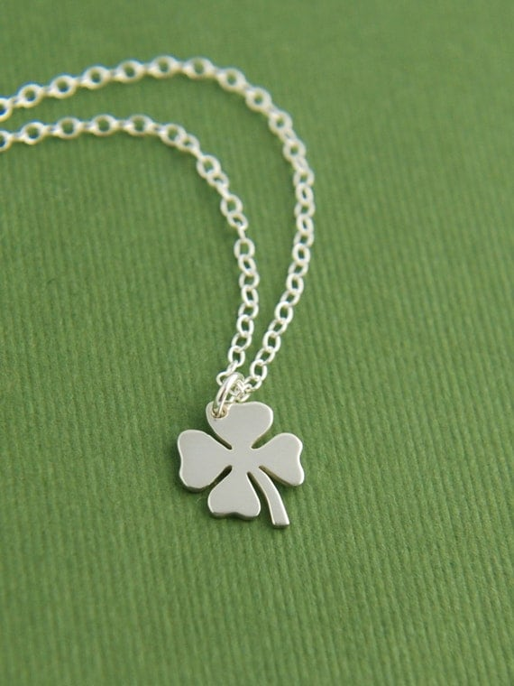 Tiny four leaf clover charm necklace in sterling silver, shamrock, good luck charm, Irish, sterling silver clover charm