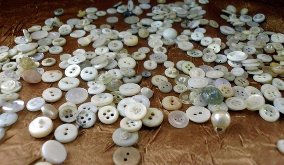 350 Vintage White Buttons. SALE . Shell, abalone, cloth covered, plastic and more.