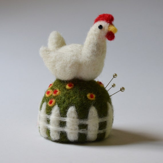 Chicken on a Grassy Mound Pincushion, needle felted sculpture