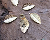 Gold Leaf Personalized Charm - Initial Letter Add On - Hand Stamped Leaf Pendant -  Name Necklace - Leaves Charms. Silver Leaf Pendants