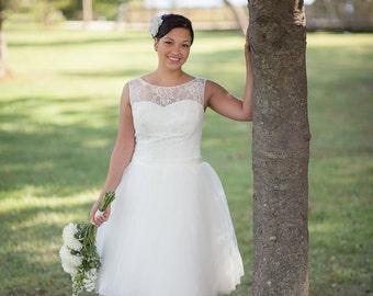 Illusion Neckline Tulle Reception Wedding Dress