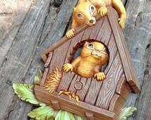 1970s plastic squirrels plastic wall art by Dart Industries cute woodland kitsch