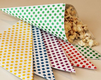 Paper Cone Bags-20 Nut and Popcorn Bags-Favor Bags-Treat Bags--Ice Cream Cone Jackets-Party Food Cone Bags-Carnival Circus Party-Peanut Bag