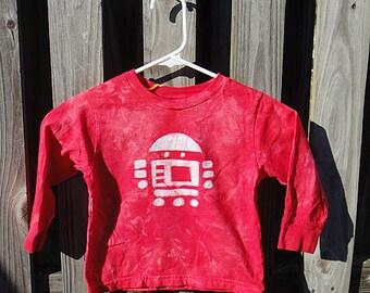 Kids Robot Shirt (4T), Red Robot Shirt, Boys Robot Shirt, Girls Robot Shirt, Long Sleeve Robot Shirt, Batik Kids Shirt, Red Kids Shirt