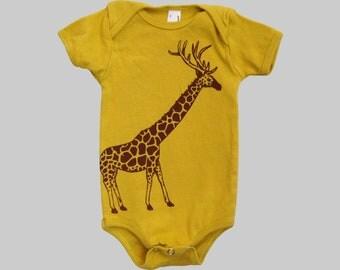 Giraffe Organic Baby Bodysuit Mustard Yellow