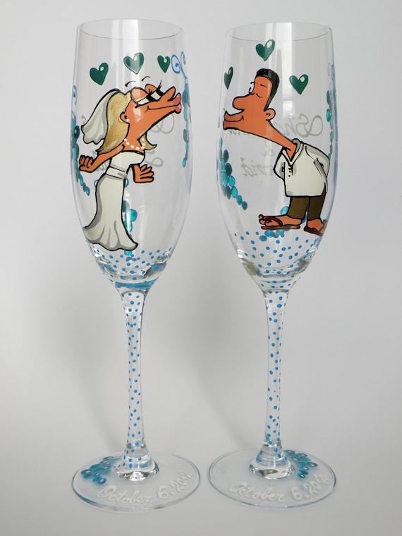 Hand Painted Decoration Wedding Toasting Flutes Set Of 2