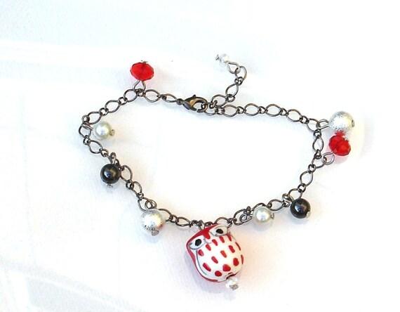 Red Ceramic Owl Bracelet