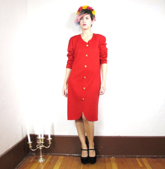 80s Scarlet Red Layering Sweater Dress (L)