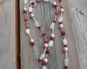 Blush, red, silver long necklace, gemstone