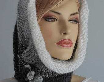 Hand Knit Cowl Scarf  - Neck Warmer - Hood - White Grey Scarf - Winter Accessories - Ready to ship