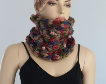 Chunky Knit  -  Hand Knit Cowl Scarf  - Neck Warmer
