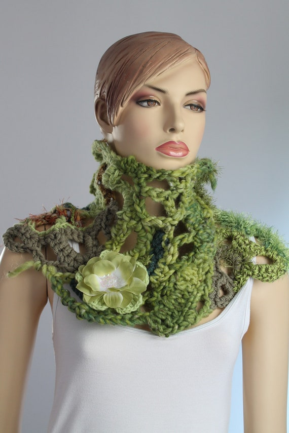 Reserved Chunky Crochet Scarf - Crochet Cowl Capelet  - Boho Chic / Neck Warmer /  Freeform / Flower brooch