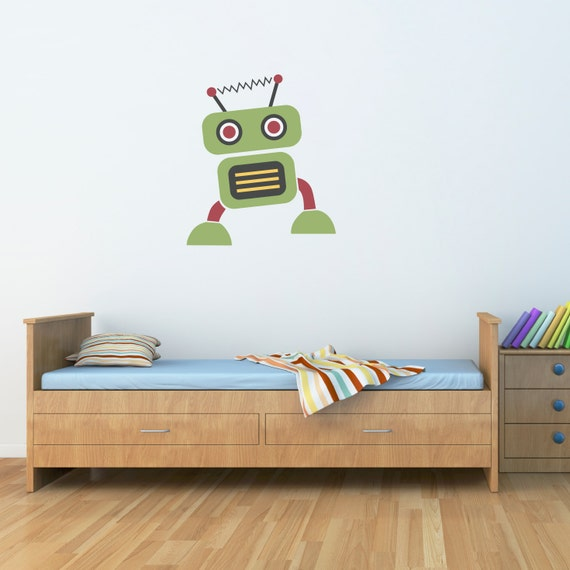 Robot Wall Decal - Boy Bedroom Wall Art - Children Wall Decals - 1