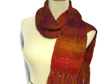 Hand Knit Scarf, Orange Scarf, Knit Scarf Knitted Scarf, Winter Scarf, Gift For Her Wool Scarf, Drop Stitch Scarf,  Women Scarf, Ombre Scarf