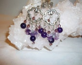 Amethyst Chandelier Earrings Stone Beads and Chips    Free Shipping in USA