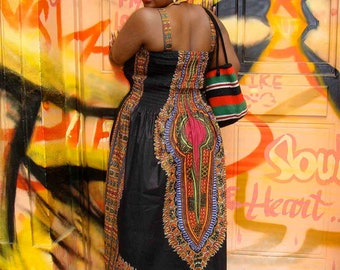 African Dashiki Print Maxi Dress XL-XXL