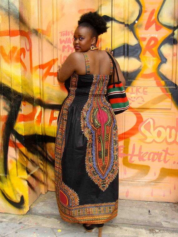 African dashiki diva print maxi dress l - Diva pants ebay ...