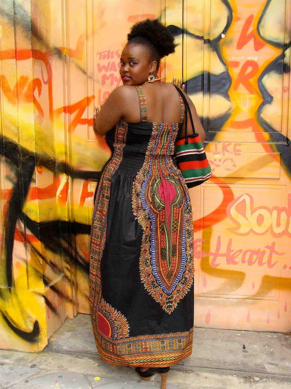 African Dashiki Diva Print Maxi Dress L