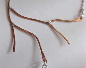 Artisan Handmade Copper and Sterling Branch Necklace