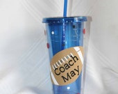 Personalized coach gift Football 24 oz blue Insulated cup with polka dots