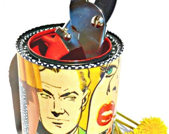 "Upcycled Pop Art Canister Hand-Painted Recycled Roy Lichtenstein Decoupage ""Paulie's Confession"" Eco-Friendly Freckles Original Mixed Media"