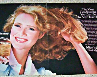 Retro 1985 Hair Salon Art Vintage Nice 'n Easy Color Beautician Paper Ephemera Print Ad Cosmetology Hairstyle Model Beauty Parlor Wall Decor
