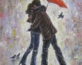 Kiss in the Rain Art Print, lovers, kissing, red umbrella, rain, couple, hugging, love art, romance, romantic, Valentine's Day art