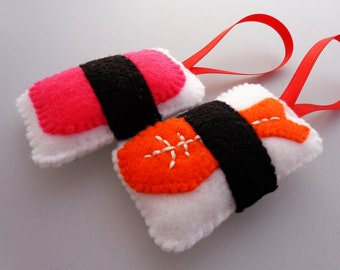 Felt Sushi Christmas Ornaments - Ebi Shrimp & Spam Musubi