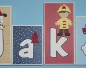 Personalized Wood Blocks - M2M Pem America's Fireman Collection Quilt - Firefighter - Custom Name Block Letters - Baby Letter Blocks
