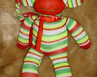 12 inch Christmas Glitter sock monkey toy