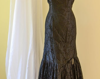 Vintage Evening Gown, New Years Dress, Mermaid Dress, Fishtail Dress, Lacy Bombshell Rhinestone Embellished, Old Hollywood Glam