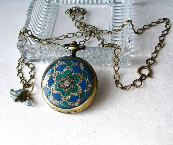 Teal &  Emerald Mandala Pocket Watch Locket Pendant with Matching Earrings
