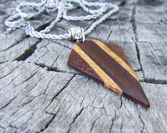 Multi-Wood Pendant Necklace - Premium Quality - Handmade - Artisan Wooden Jewelry - Comes with Stainless Steel Necklace