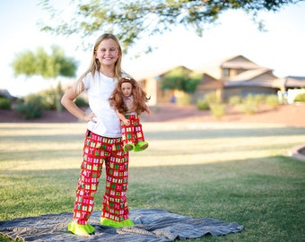 Christmas Pajamas. American Girl Matching Christmas Pajama Pant Set for Girl and Doll. Size 4 ONLY. Lightweight pants. Red Christmas present