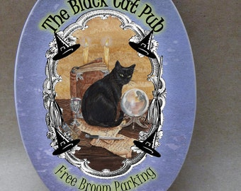 The Black Cat Pub...  Oval Tile Wall Hanging