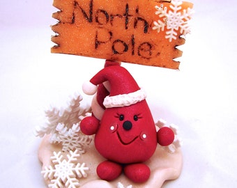 North Pole Santa Parker Figurine - Christmas StoryBook Scene Polymer Clay Sculpture