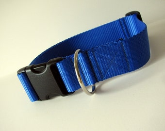 "LARGE 1 1/2"" Simply Royal blue dog collar"