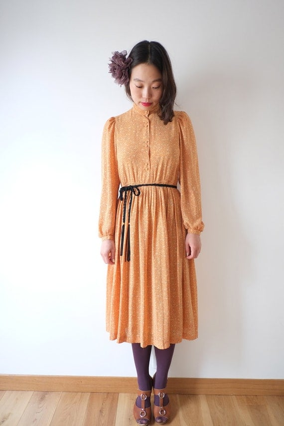 Light orange japanese vintage dress, Xs - Small