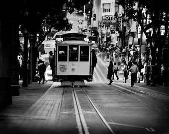 Black White San Francisco Print, Cable Car, San Francisco Art, Retro Office Decor, SF Cable Car Photo