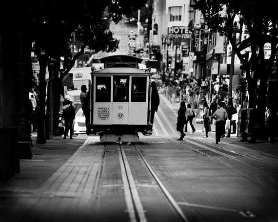 Black White Photos, San Francisco Print, Cable Car Photo, San Francisco Art, Retro Office Decor, Black White Prints SF Cable Car Print