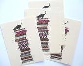 Greeting Card / Cat On Cushions / Whimsical Art Print
