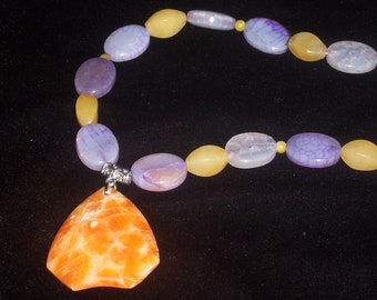 SALE  Colorful natural stone handmade necklace