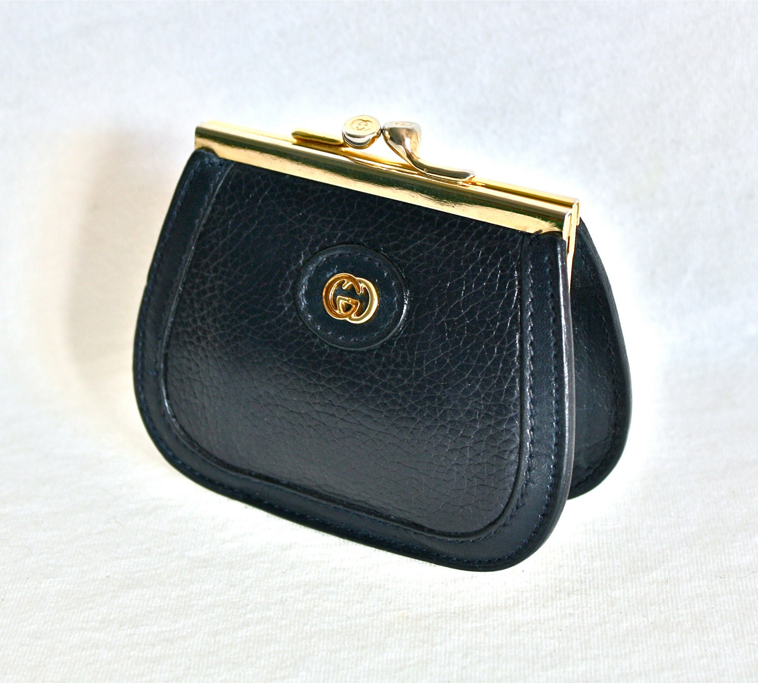 Vintage Gucci Coin Purse Navy Leather Kisslock Wallet