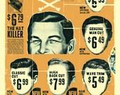 """Vintage Mens Barber Shop Print 12"""" x 16"""" Matte"""